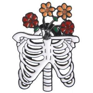 Ribs / Skeleton ❤️ w Flowers: Enamel Pin ❤️ NEW ❤️